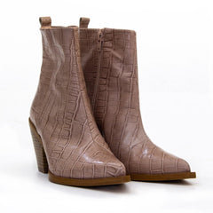 Women's Cowboy Boots - Vanessa Texa Taupe Croc Leather Western Style Ankle Boot - www.heelsboutique.co.uk