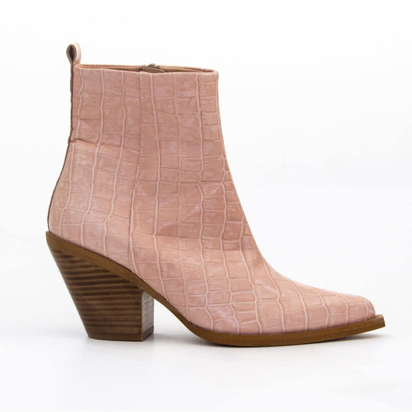 TEXA Nude Croc Leather Western Ankle Boot