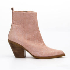 Vanessa London Shoes - Nude Croc Leather Western Style Ankle Boot