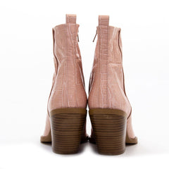 Luxury Nude Croc Leather Western Style Ankle Boot