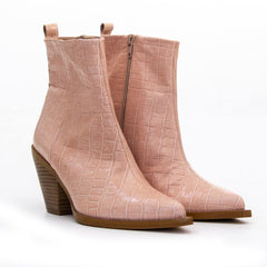 TEXA Nude Croc Leather Western Ankle Boot - Heels Boutique