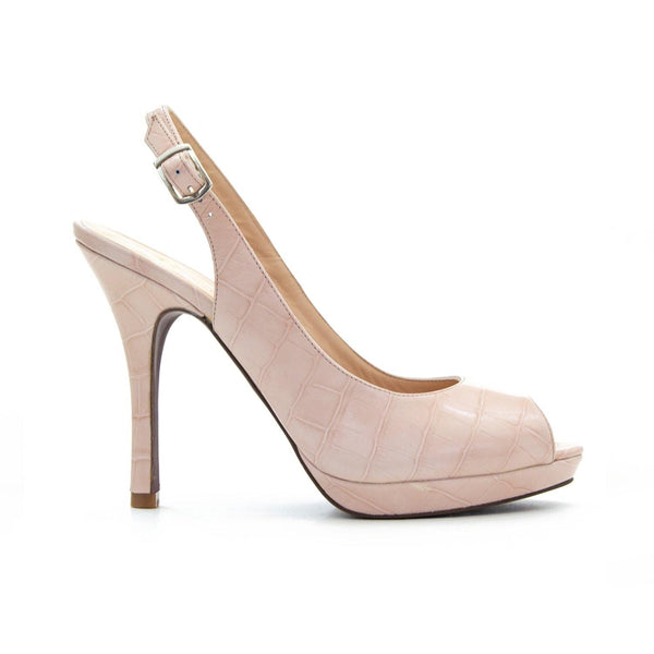 TIFFANY Nude Croc Leather Slingback Peep Toe Stilettos