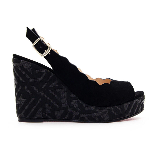 ERIN Black Suede Platform Scalloped Wedge