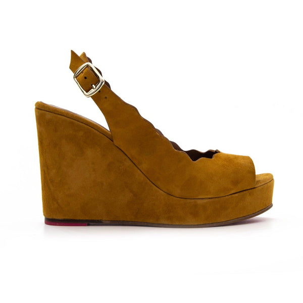 ERIN Tan Suede Platform Scalloped Wedge