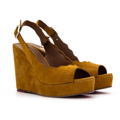 ERIN Tan Suede Platform Scalloped Wedge - Heels Boutique