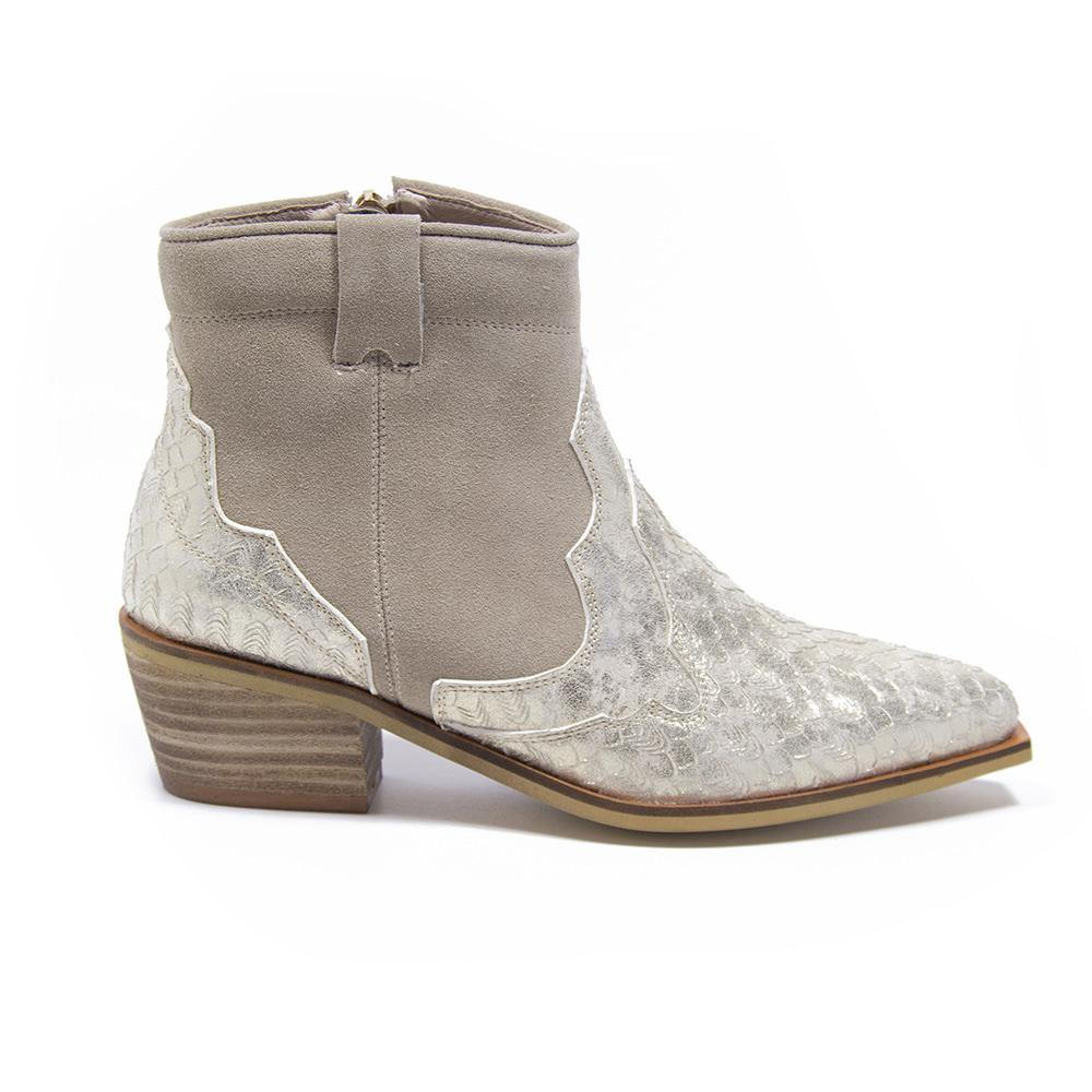 WINONA Taupe Suede Gold Metallic Snake Western Boot - Vanessa London