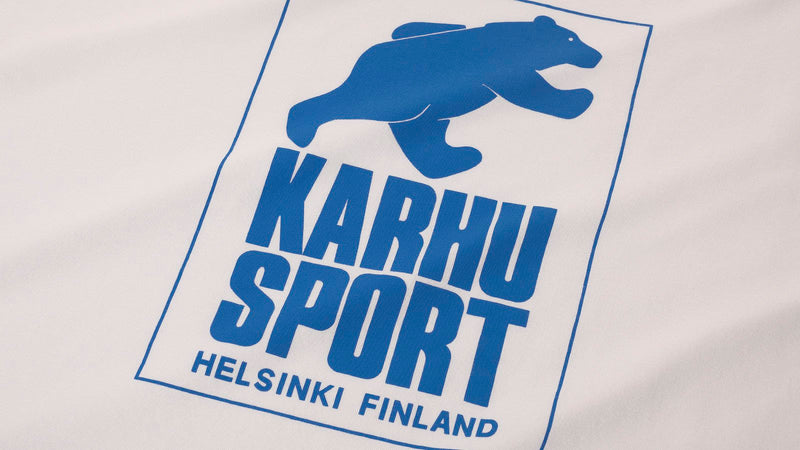 Karhu helsinki sports white royal blue logo close