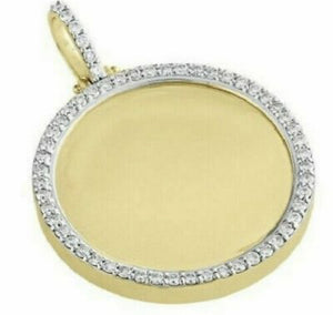 Diamond Photo Medallion Pendant 0.65 Carat 10KT Yellow Gold
