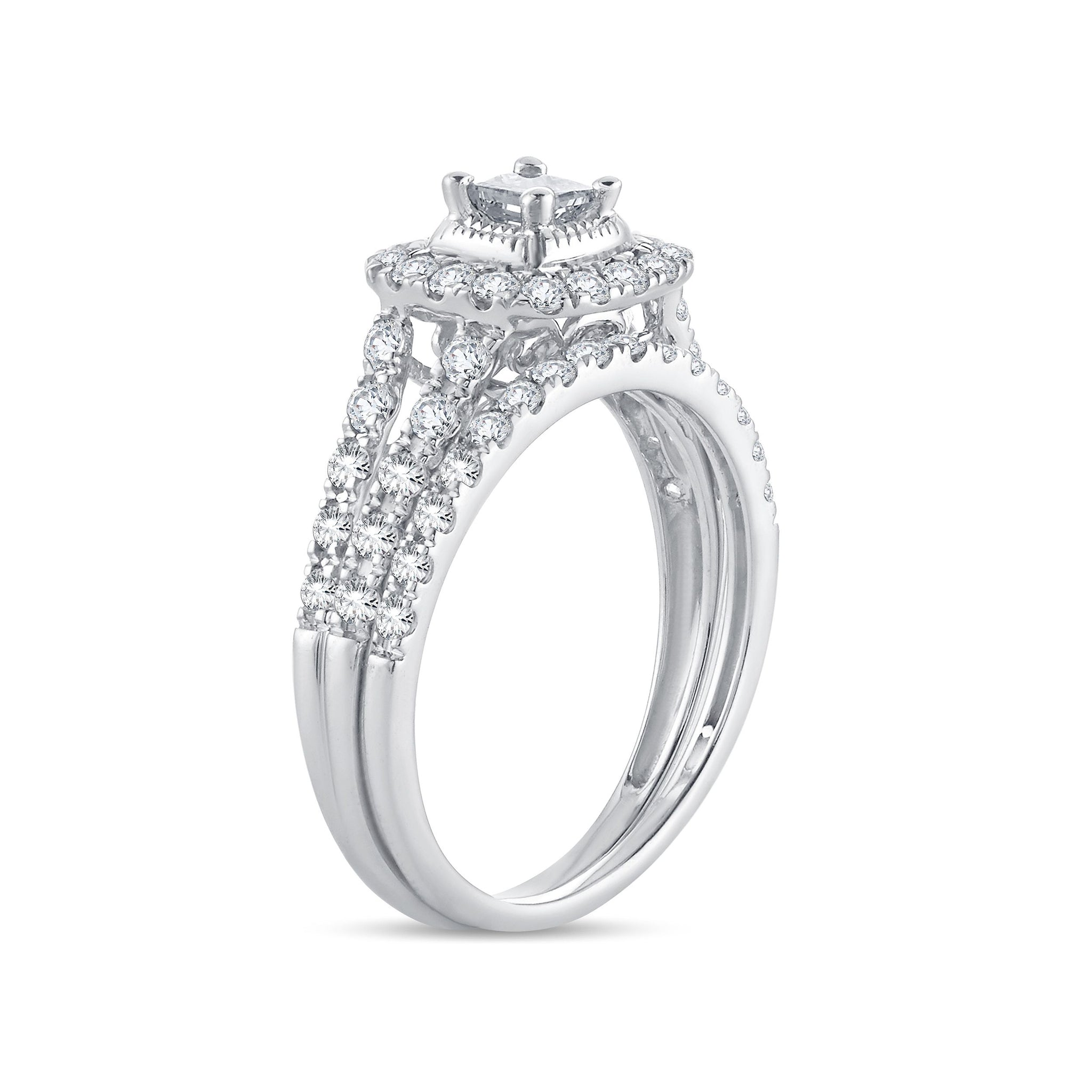 Diamond Engagement Ring with Band Cushion Cut 1.00 Carats 14KT White Gold