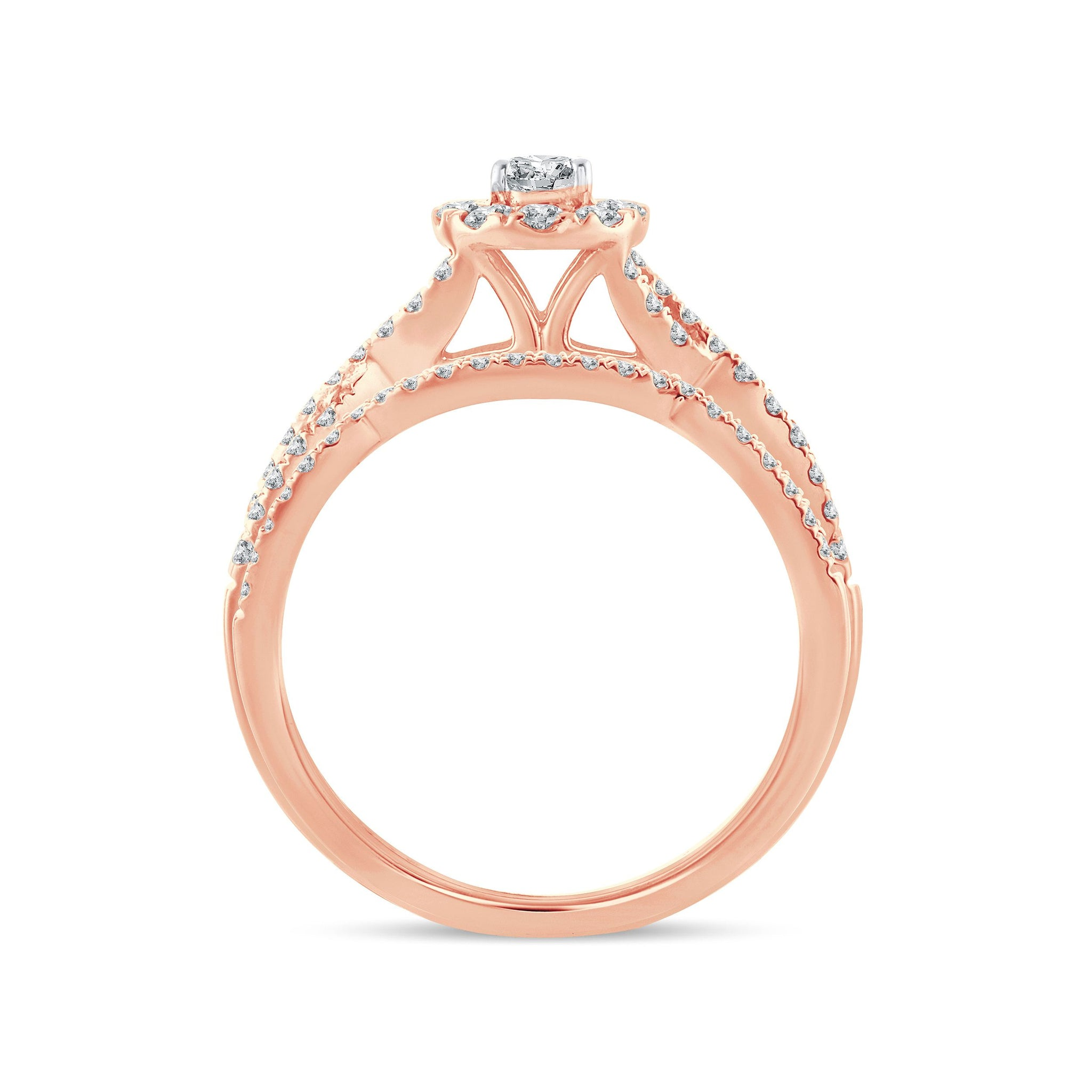 Diamond Engagement Ring with Band 0.74 Carats 14KT Rose Gold