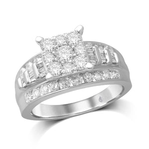 10K White Gold 1 5/8 Ct.Tw. Diamond Engagement Invisible Ring