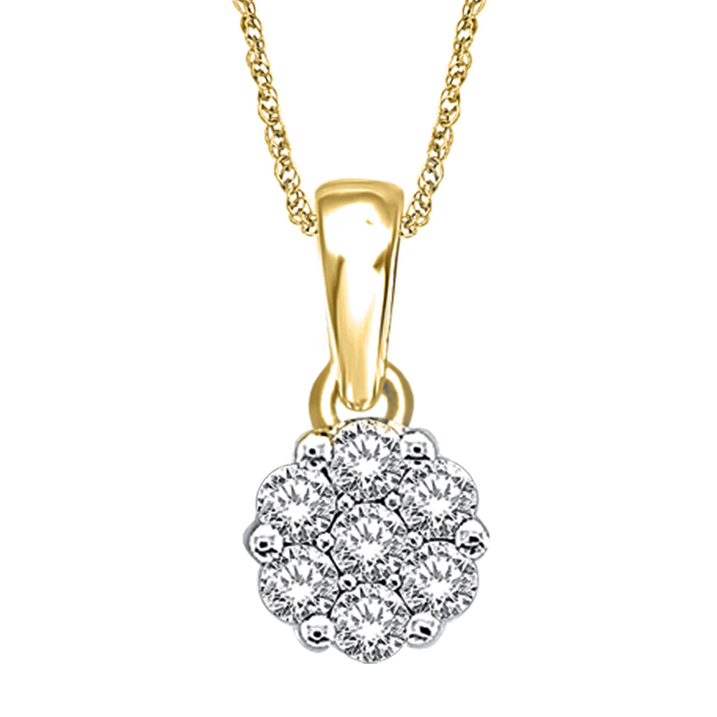 Diamond Flower Pendant Round Cut 14KT Gold with Chain