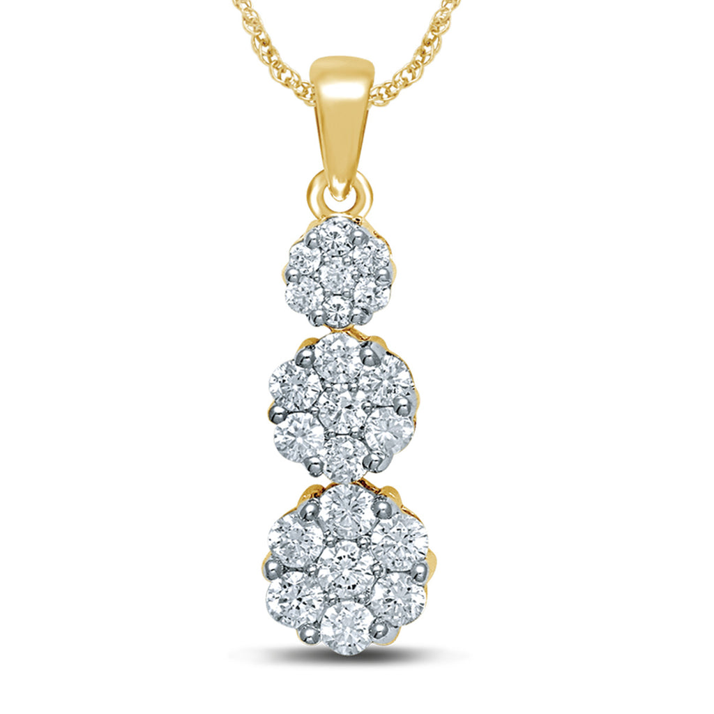 Diamond Flower Pendant Round Cut 0.25 Carats 14KT Gold with Chain
