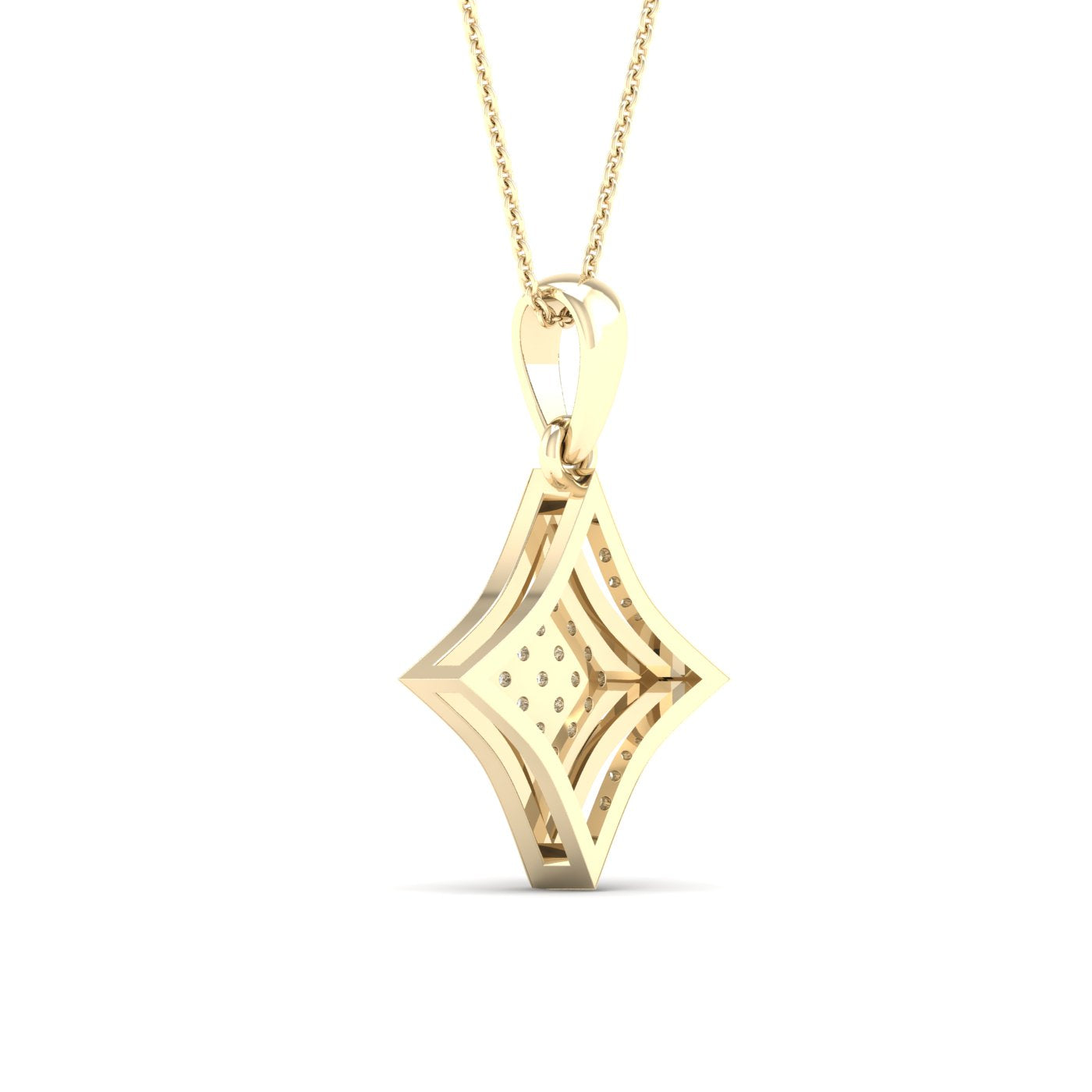 Diamond Rhombus Pendant Round Cut 0.05 Carats 10KT Gold with Chain