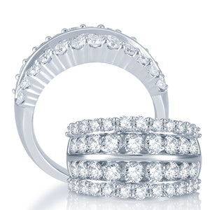 Diamond Fashion Ring Round Cut 3.00 Carats 14KT White Gold