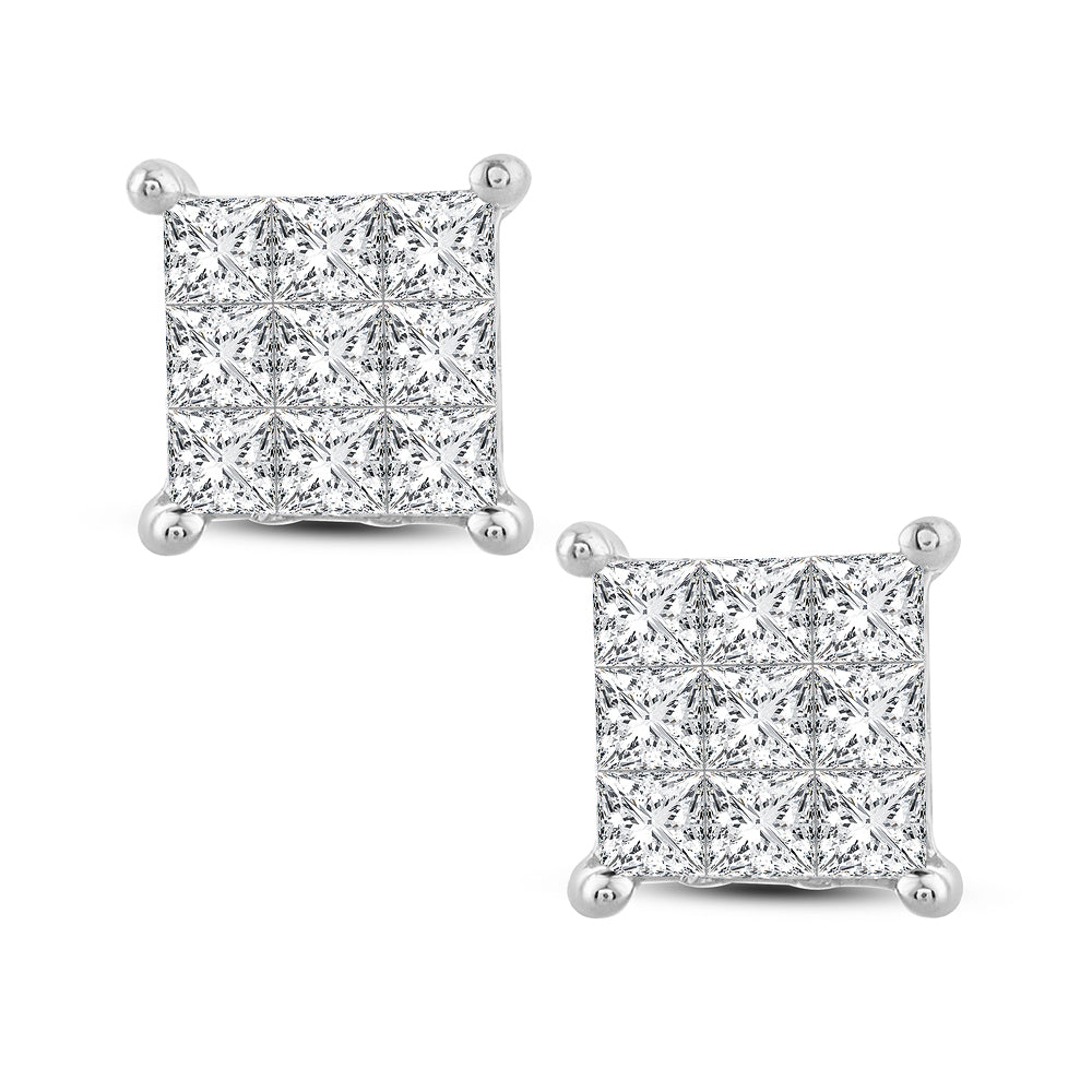 Diamond Studs Princess Cut 1.00 Carats 14KT Gold