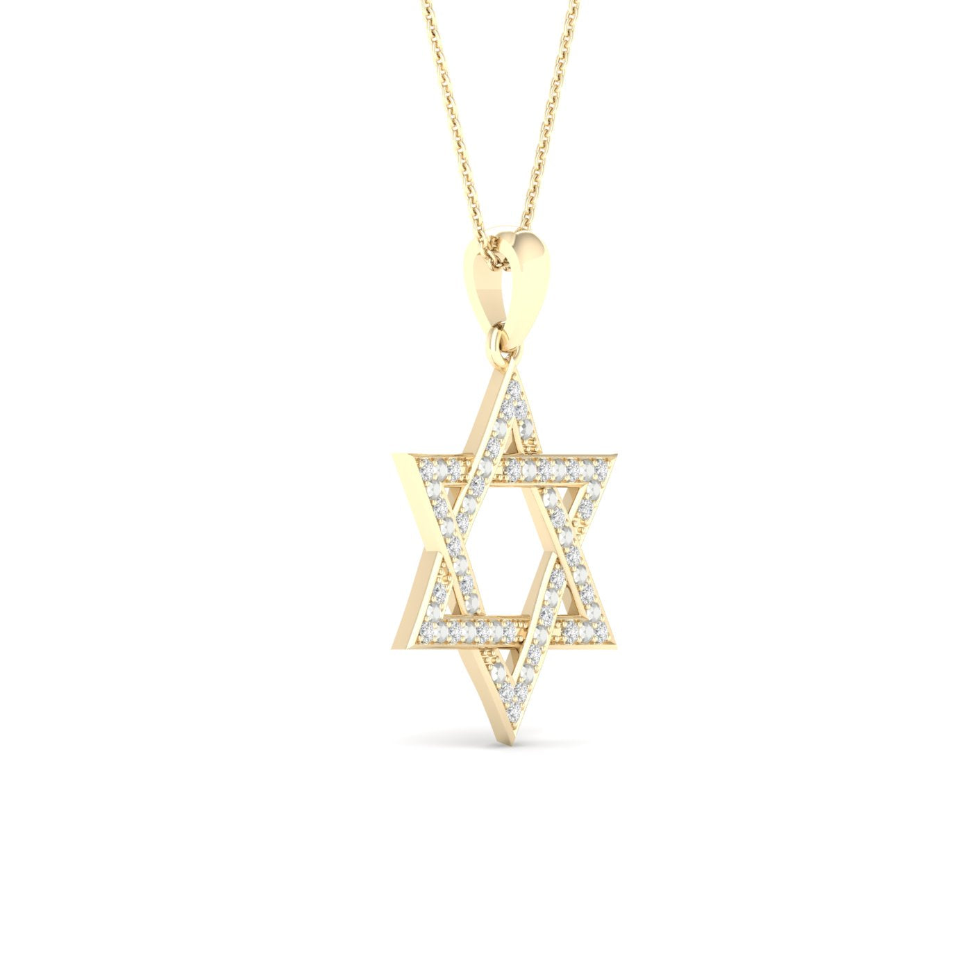 Diamond Star of David Pendant Round Cut 0.10 Carats 10KT Yellow Gold with Chain