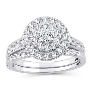 Diamond Engagement Ring with Wedding Band Round Cut 1.00 Carats 14KT White Gold