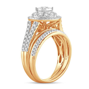 Diamond Cluster Engagement Ring with Band Round Cut 1.10 Carats 10KT Gold