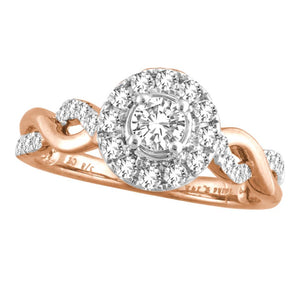 Diamond Engagement Ring Round Cut 0.64 Carats 14KT Rose Gold