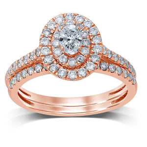Diamond Ring Oval Cut 1.00 Carats 10KT Rose Gold