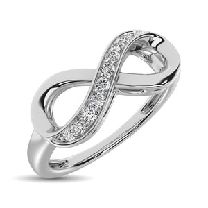 Diamond Infinity Ring Round Cut 0.10 Carats 10KT White Gold