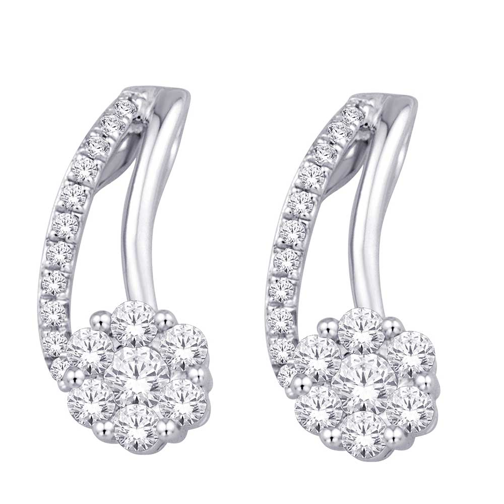Diamond Huggies Flower Earrings Round Cut 0.33 Carats 10K White Gold