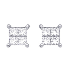 Diamond Princess Stud Earrings Princess Cut 14KT White Gold