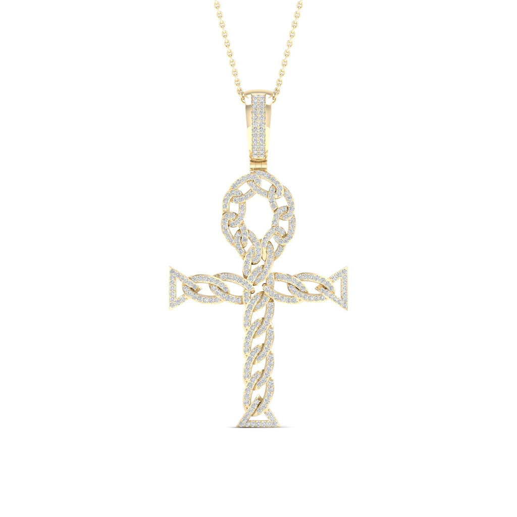 Diamond Ankh Pendant Round Cut 0.70 Carats 10KT Yellow Gold