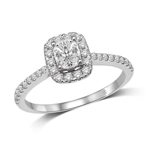 Diamond Engagement Ring 0.63 Carats 14KT White Gold