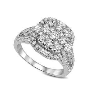 Diamond Fashion Ring Cushion Cut 1.50 Carats 14KT White Gold