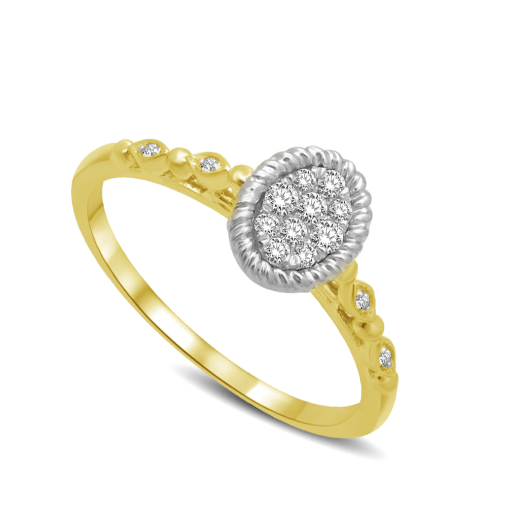 Diamond Engagement Ring 0.16 Carats 14KT Two Tone Gold