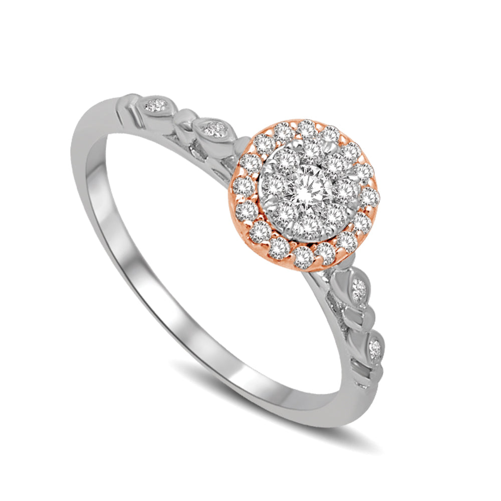 Diamond Engagement Ring 0.25 Carats 14KT Two Tone Gold