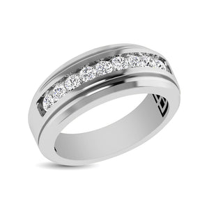 10K White Gold 1 Ct.Tw. Diamond 9 Stone Satin Finish Mens Band