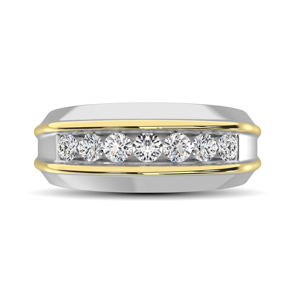 10K White Gold with Accent of 10K Yellow Gold 1/2 Ct.Tw. Diamond 7 Stone Mens Band