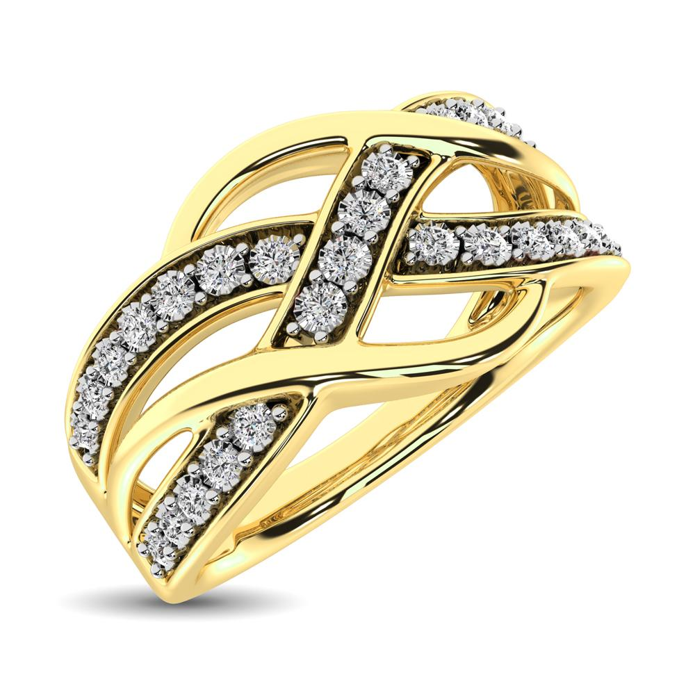 Diamond Criss Cross Cocktail Ring Round Cut 0.08 Carats 10KT Gold