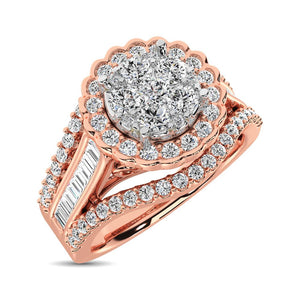 Diamond Engagement Ring Round with Baguette 1 Carats 14KT Gold
