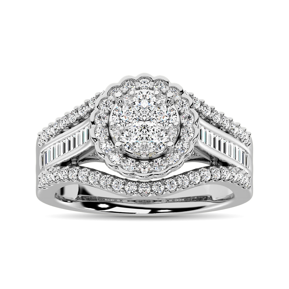 10K White Gold Round and Baguette Diamond 1 Ct.Tw. Engagement Ring