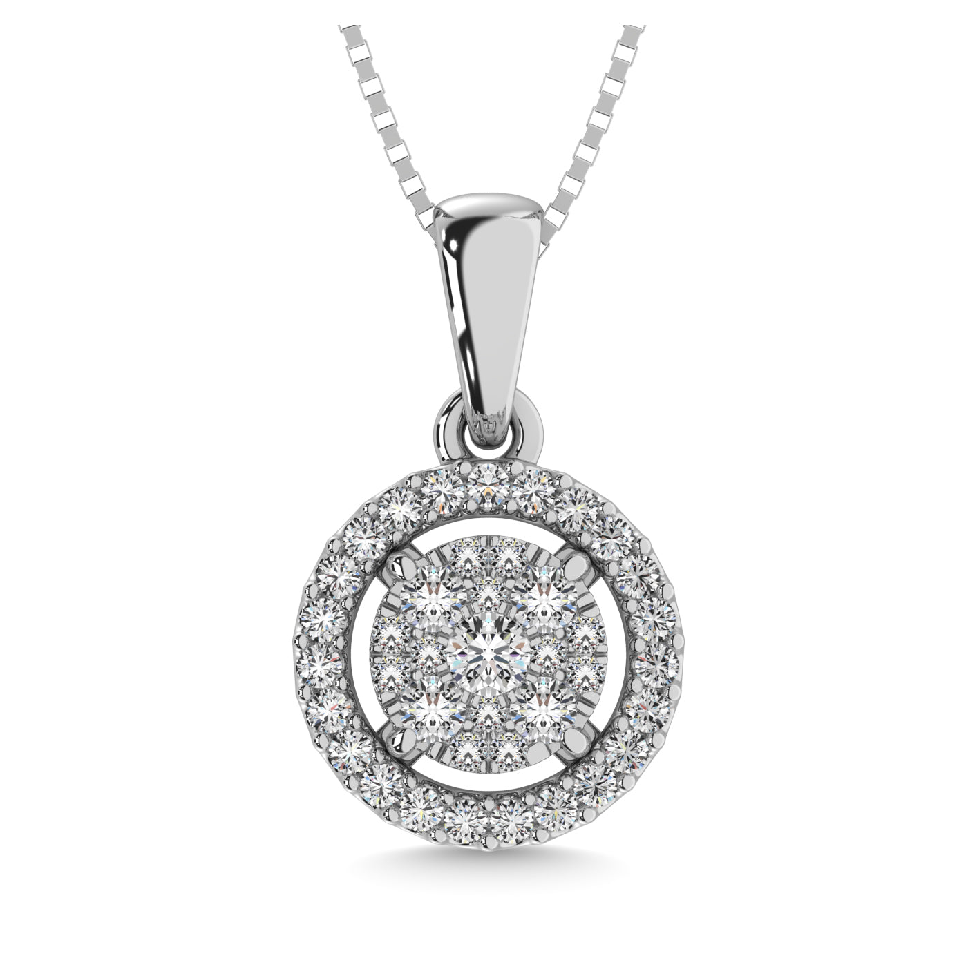 Diamond Halo Pendant Round Cut 0.25 Carats 10KT White Gold with Chain