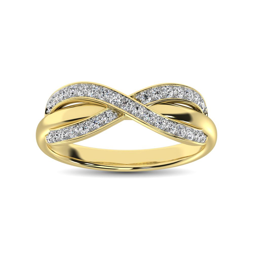 Diamond Cocktail Crossover Ring Round Cut 0.25 Carats 10KT Gold