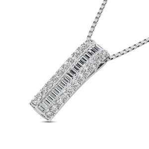 Diamond Drop Bar Pendant Round and Baguette Cut 0.32 Carats 14KT Gold with Chain