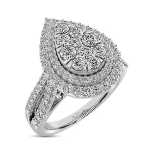 Diamond Double Halo Engagement Ring 1.00 Carats 14K White Gold