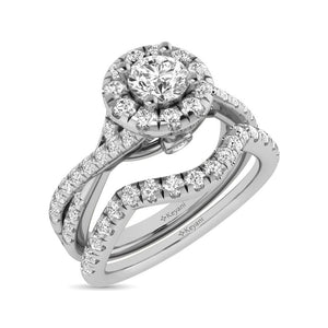 Diamond Twist Shank Single Halo Bridal Ring 1.00 Carat 14K Gold