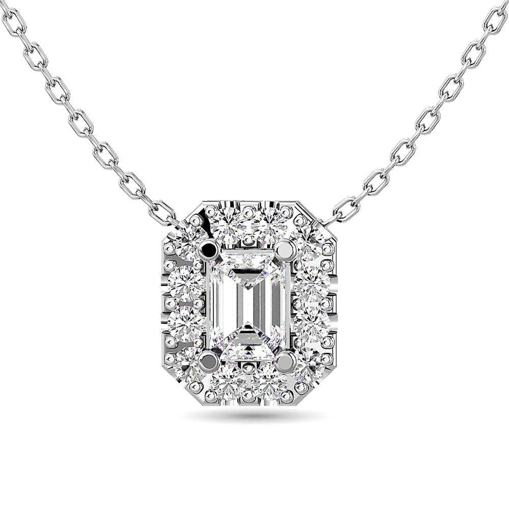 Diamond Halo Pendant 14K White Gold with Chain