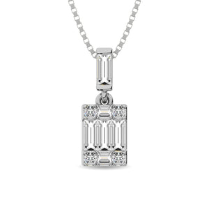 Diamond Fashion Pendant Radiant Cut 0.17 Carats 14KT White Gold with Chain