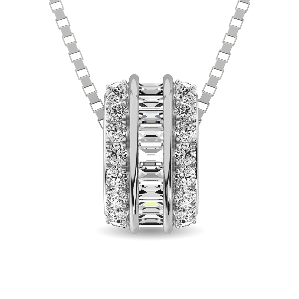 Diamond Wheel Pendant Round and Baguette Cut 0.25 Carats 10KT Gold with Chain