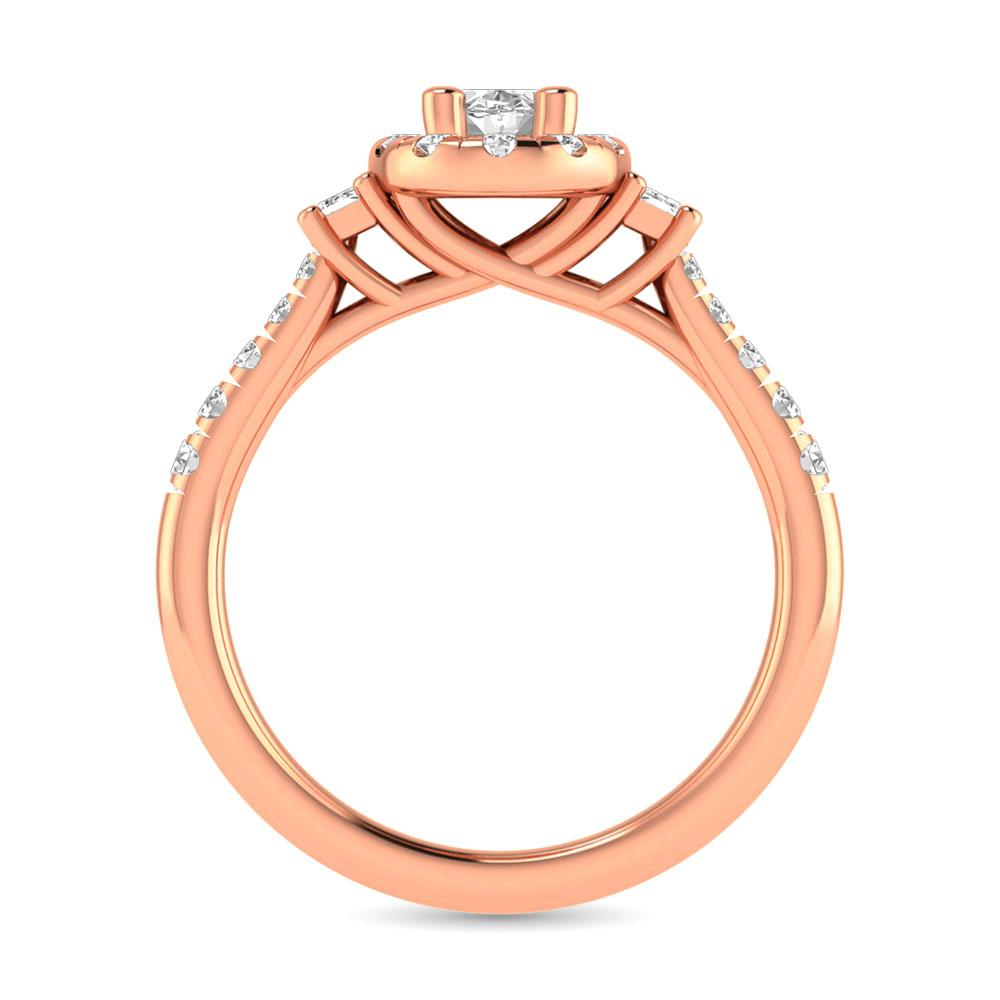Diamond Classic Shank Single Halo Ring 1.00 Carats 14KT Gold