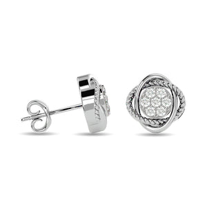 Diamond Fashion Stud Earrings Round Cut 0.25 Carats 10KT White Gold