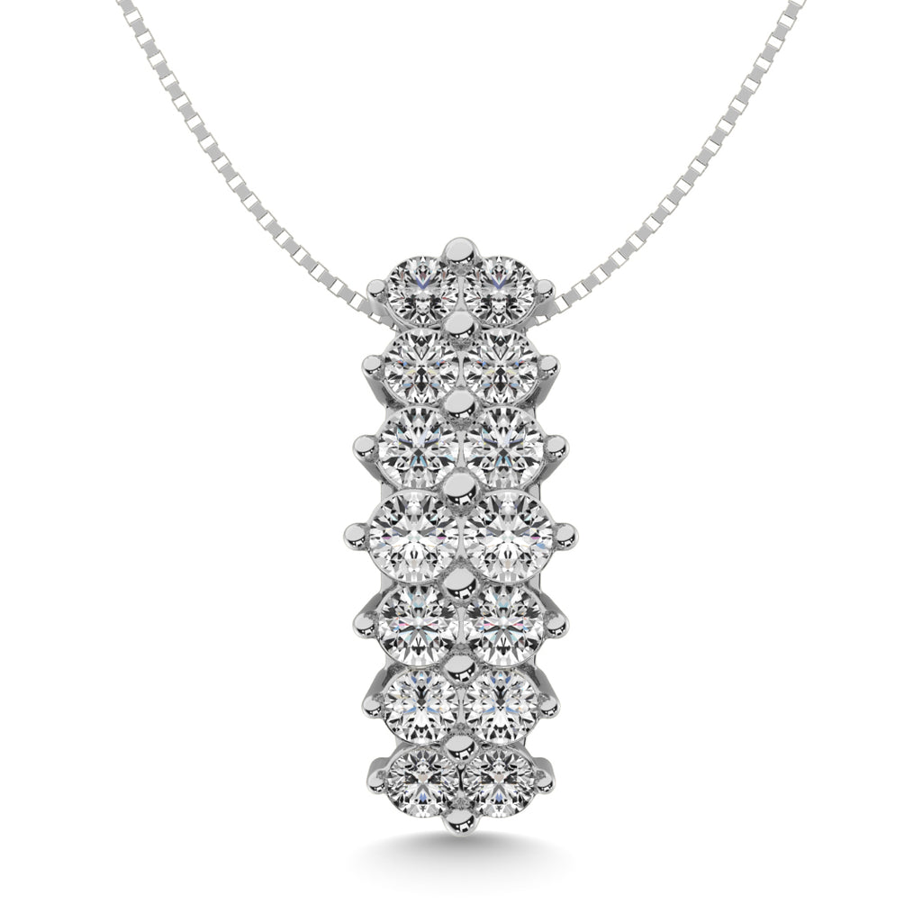 Diamond Stacked Pendant Round Cut 0.75 Carats 14KT White Gold with Chain