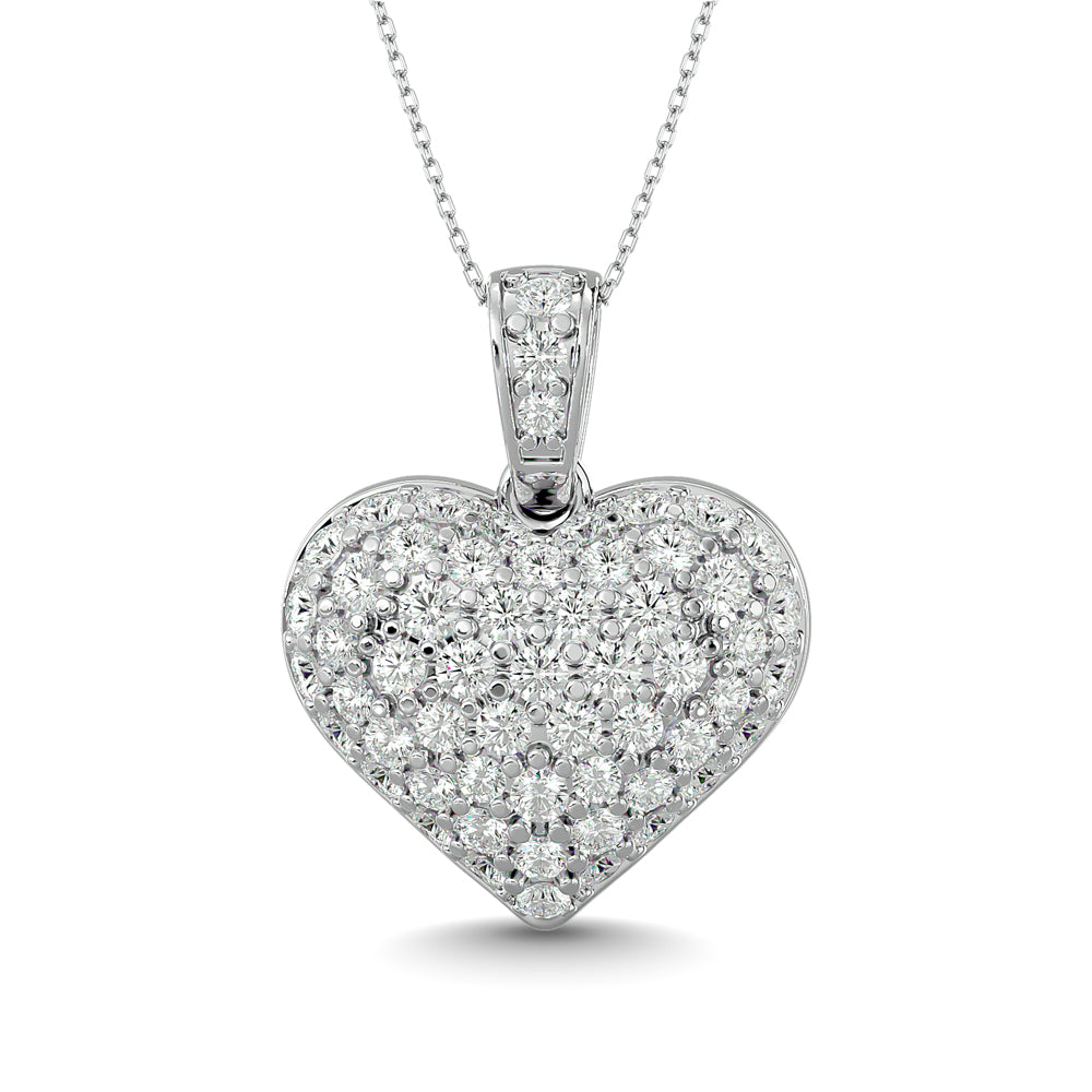 Diamond Heart Pendant 1.00 Carat 10KT Gold with Chain